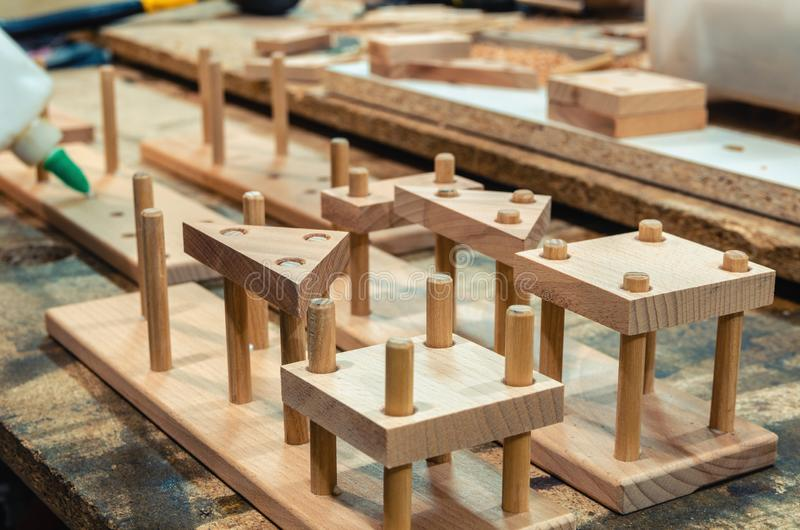 Carpentry workshop for the manufacture of wooden toys stock photography