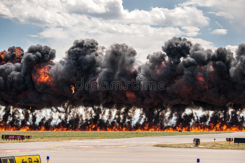 Carpet Bomb. Explosion at an airshow stock image