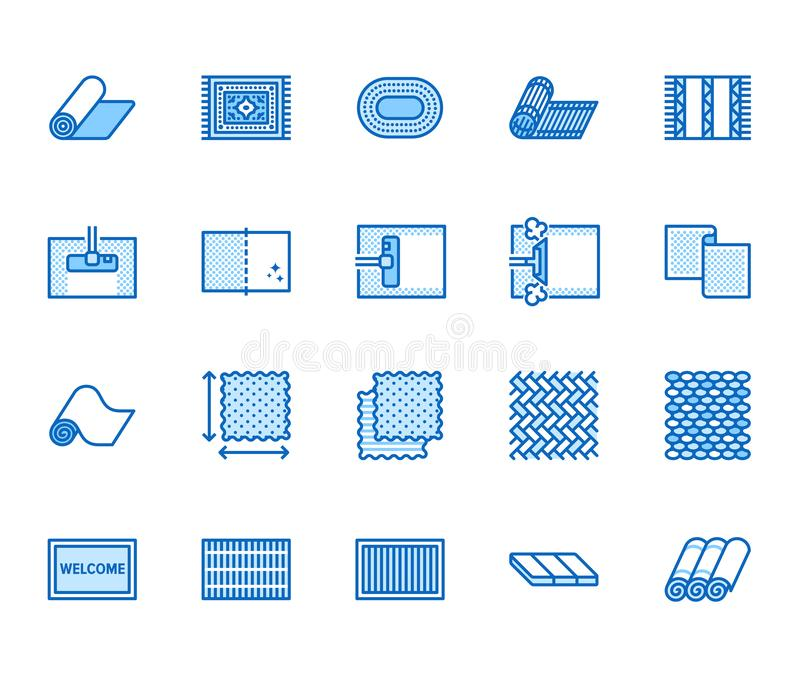 Carpet cleaning flat line icons set. Rug steaming, bamboo mat, persia carpets, flooring vector illustration. Thin signs. For housekeeping service, interior royalty free illustration