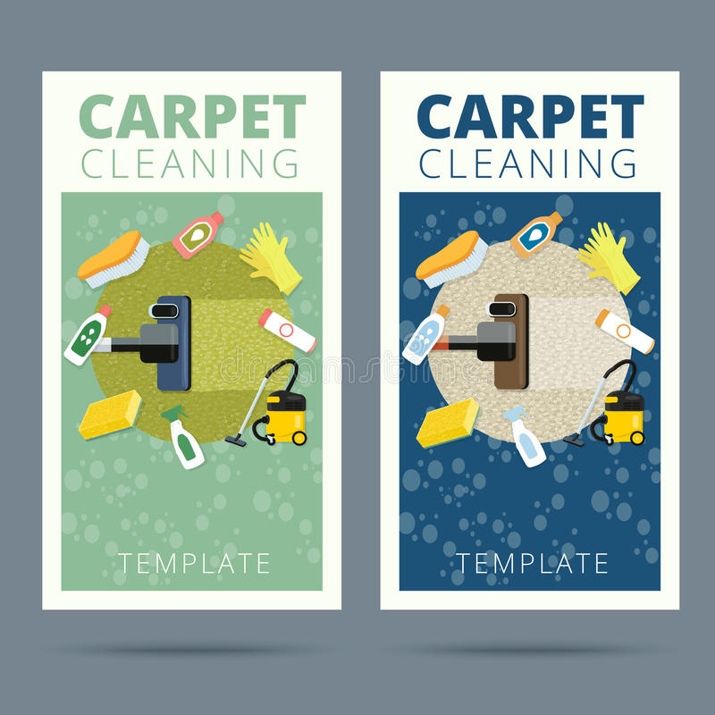 Carpet cleaning service vector illustration. Business card conce. Pt design. Housework tools and sanitizing moistures stock illustration