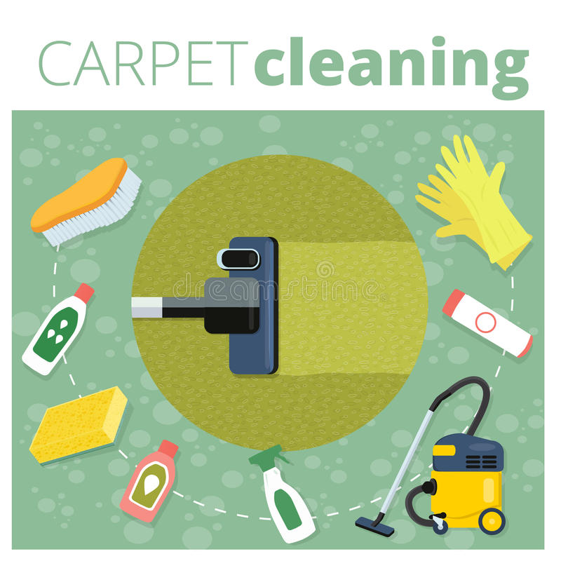 Carpet cleaning service vector illustration. Business concept de. Sign. Housework tools and sanitizing moistures vector illustration