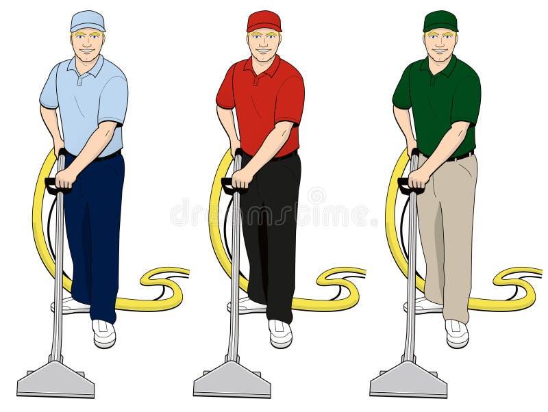 Carpet Cleaning Tech Clip Art Set 3 royalty free illustration