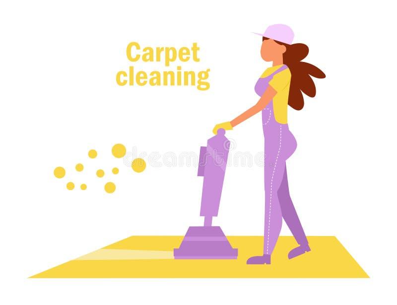 Carpet cleaning Vector. Cartoon. Isolated art Woman Work. Carpet cleaning Vector. Cartoon Isolated art vector illustration