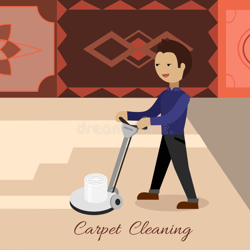 Carpet Cleaning Vector Concept in Flat Design. Carpet cleaning conceptual vector. Flat design. Male cleaner working with surface washing machine, carpets with stock illustration