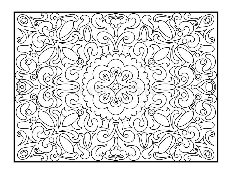 Carpet coloring book for adults vector. Illustration. Anti-stress coloring for adult. Zentangle style. Black and white lines. Lace pattern vector illustration