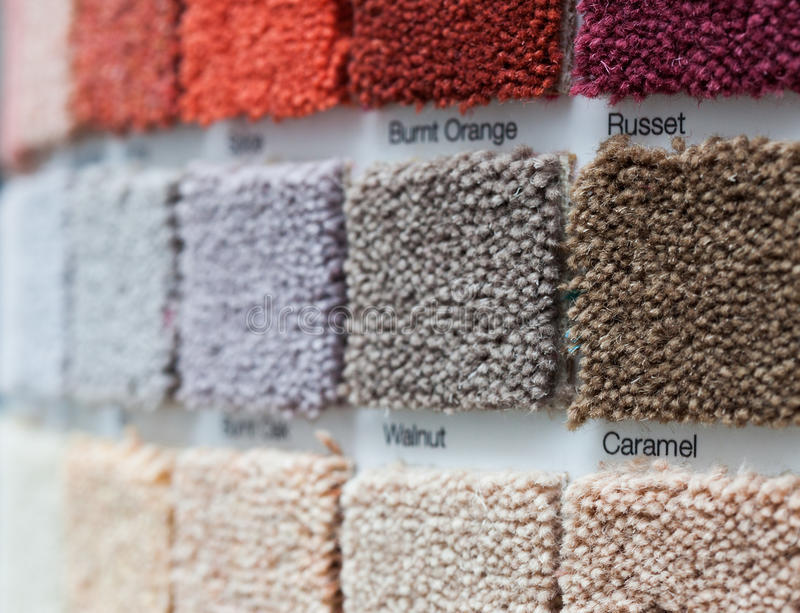 Carpet display in a retail shop royalty free stock image