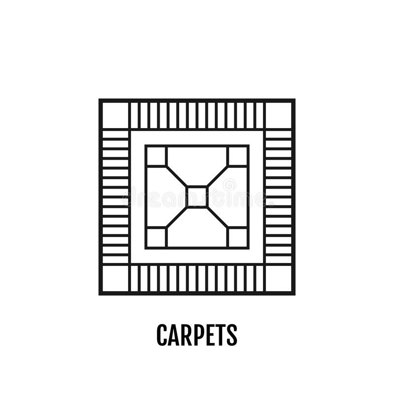 Carpet, flooring. Flat linear icon, vector illustration. Sign or object. royalty free illustration