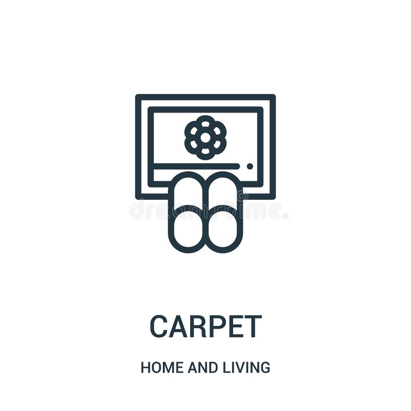 carpet icon vector from home and living collection. Thin line carpet outline icon vector illustration. Linear symbol for use on royalty free illustration