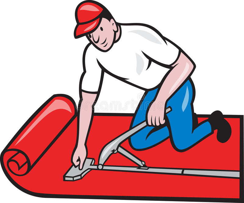 Carpet Layer Fitter Worker Cartoon vector illustration
