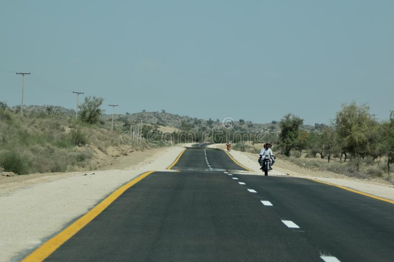 A carpet Road in Tharparkar sindh royalty free stock image