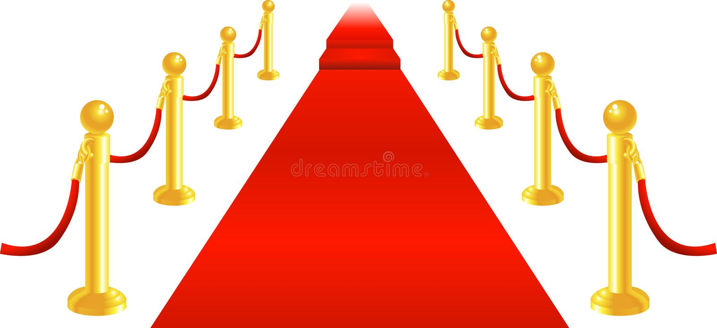 carpet sammet för det röda repet vektor illustrationer