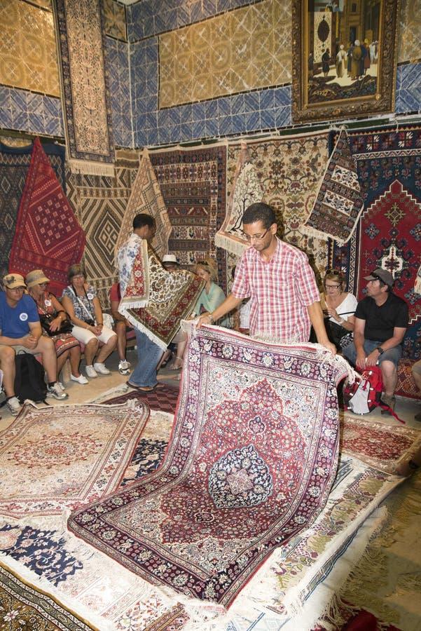 Carpet shop in Tunis stock photo