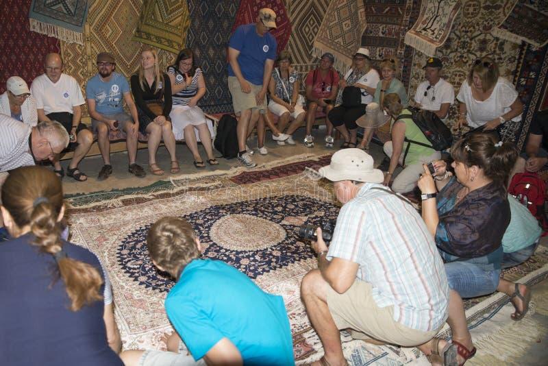 Carpet shop in Tunis royalty free stock image