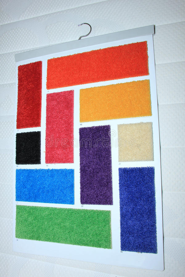 Carpet swatches in a shop stock photography