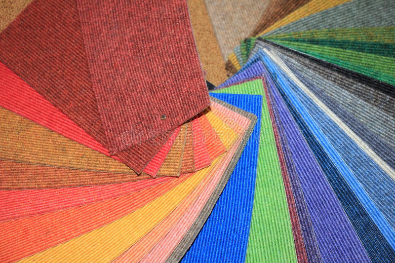 Carpet swatches in a shop. Carpet swatches in an interior decoration shop royalty free stock photos