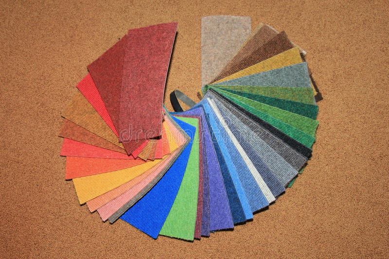 Carpet swatches in a shop royalty free stock photography