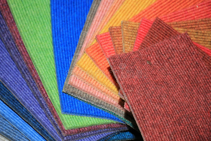 Carpet swatches in a shop. Carpet swatches in an interior decoration shop royalty free stock image