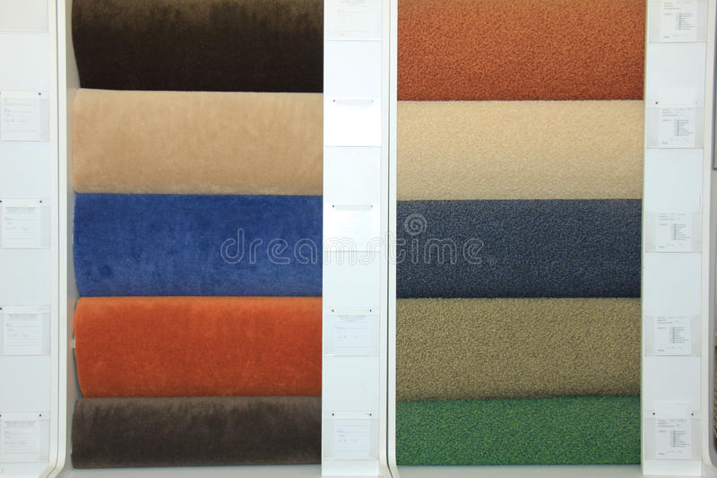 Carpet swatches in a shop stock image