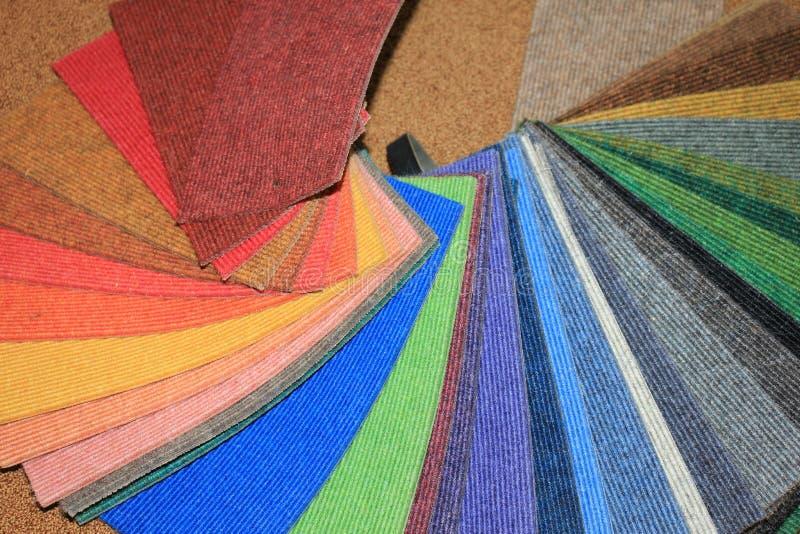 Carpet swatches in a shop. Carpet swatches in an interior decoration shop royalty free stock photos