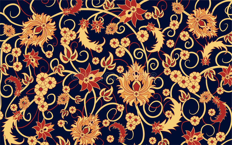 Carpet vector. Carpet with floral patterns, vector stock illustration