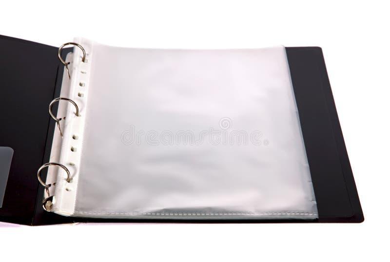 Carpeta abierta con los bolsillos plásticos imagenes de archivo