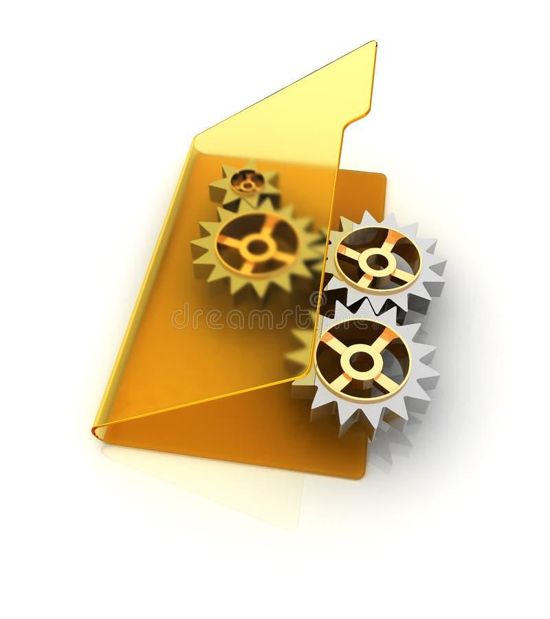 Carpeta amarilla con las ruedas de engranaje conectadas del trabajo stock de ilustración