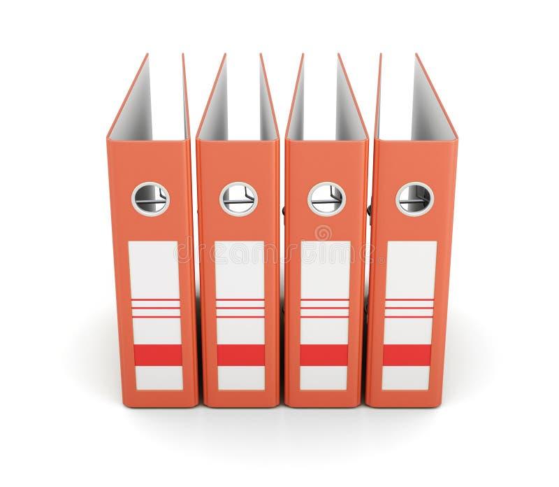 Carpeta anaranjada de la oficina, vista delantera aislada en el fondo blanco 3 libre illustration