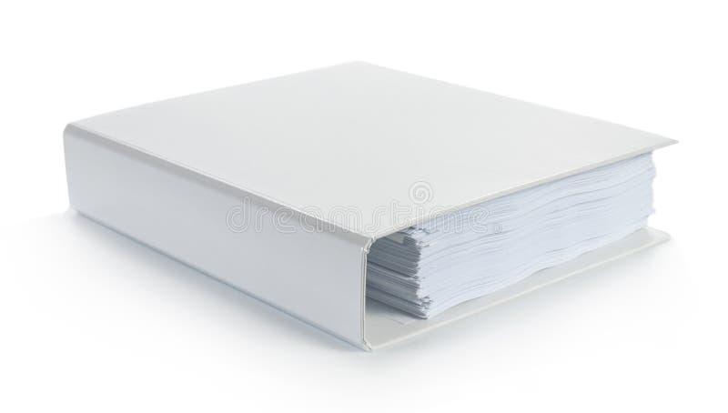 Carpeta blanca en blanco imagen de archivo libre de regalías