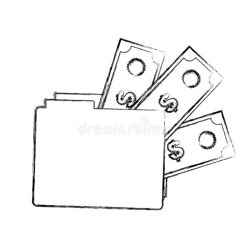 carpeta borrosa de la silueta con cuentas de dinero libre illustration