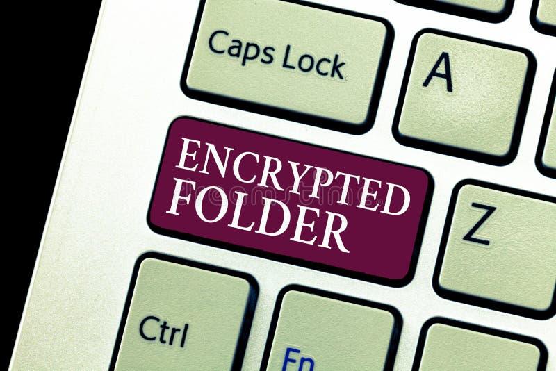Carpeta cifrada demostración conceptual de la escritura de la mano El texto de la foto del negocio protege datos confidenciales c imagen de archivo libre de regalías