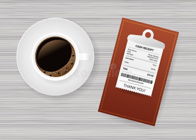 Carpeta con el control de papel Taza del caf? con leche El pagar de la cuenta del restaurante Cheque de caja, factura, orden Ilus libre illustration