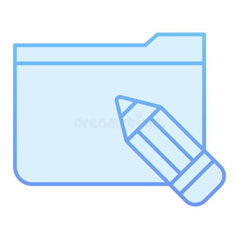 Carpeta con el icono plano del lápiz Carpeta con los iconos azules de los bosquejos en estilo plano de moda Estilo de la pendient libre illustration