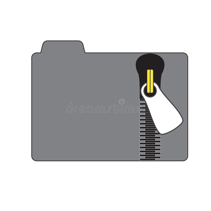 Carpeta con la cremallera ptotected secreta de los ficheros ilustración del vector