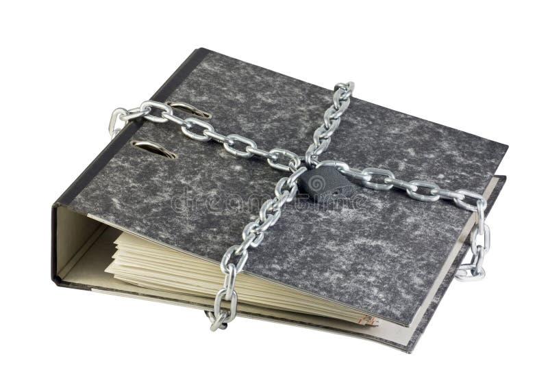 Carpeta con los documentos y el encadenamiento foto de archivo
