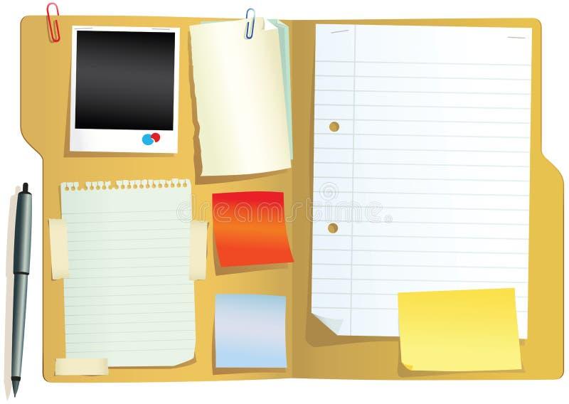 Carpeta con los papeles stock de ilustración
