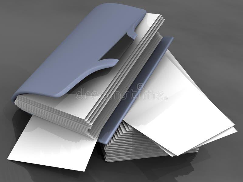 Carpeta con una hoja del caos del lío del espacio en blanco del papel ilustración del vector