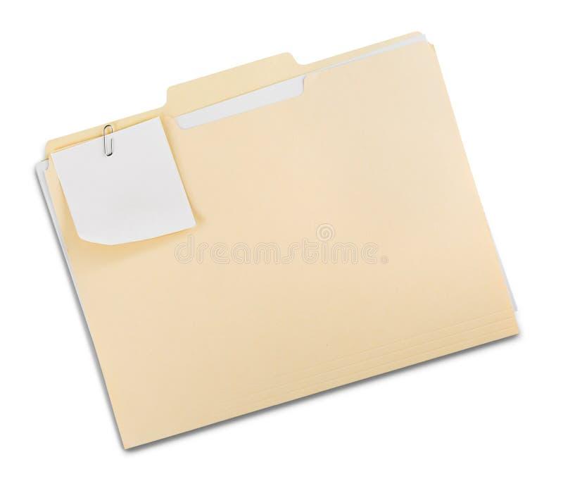 Carpeta de archivos con los documentos y la nota imagenes de archivo