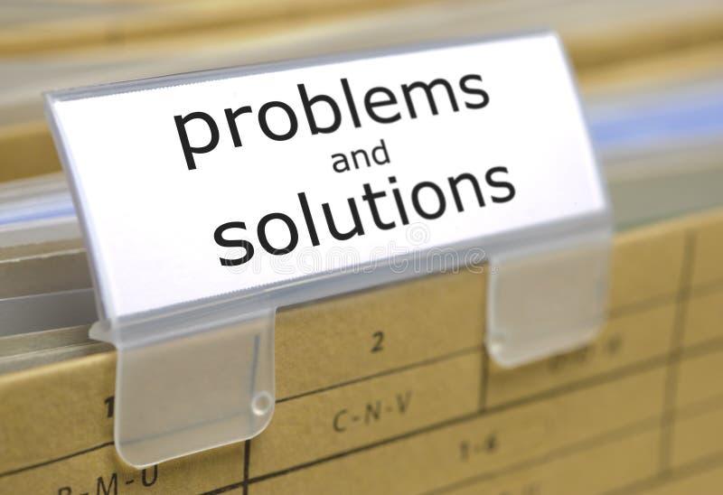 Carpeta de archivos para los problemas y las soluciones foto de archivo