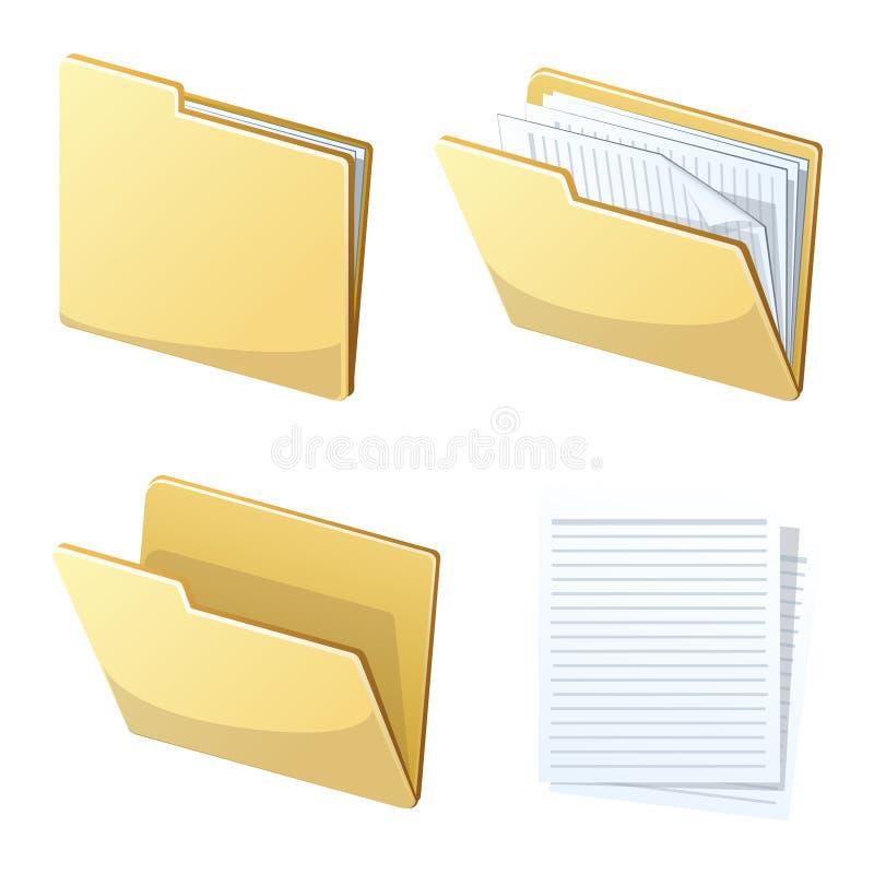 Carpeta de archivos y papel ilustración del vector