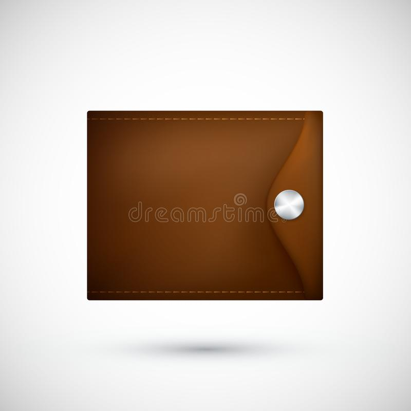 Carpeta de cuero de Brown Monedero realista Ilustración del vector aislada en el fondo blanco ilustración del vector