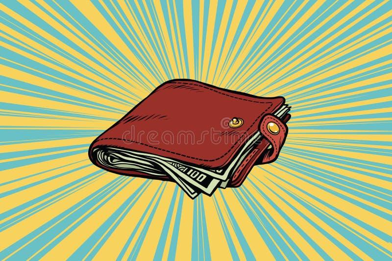 Carpeta de cuero con efectivo stock de ilustración