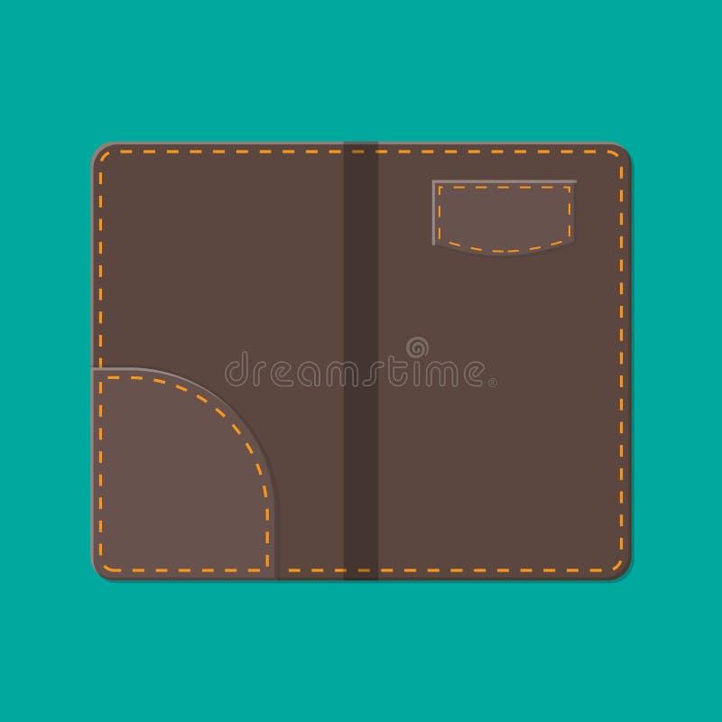 Carpeta de cuero para el efectivo, las monedas y el cheque de caja estilo ilustración del vector