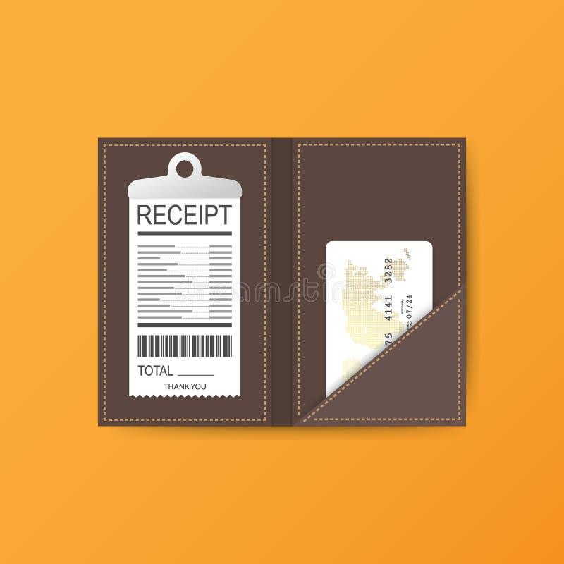 Carpeta de cuero para el efectivo, las monedas y el cheque de caja Gracias por el servicio en el restaurante Ilustración del vect libre illustration
