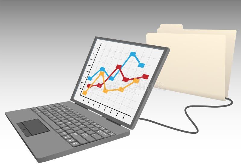 Carpeta de fichero de base de datos del almacén del ordenador portátil ilustración del vector
