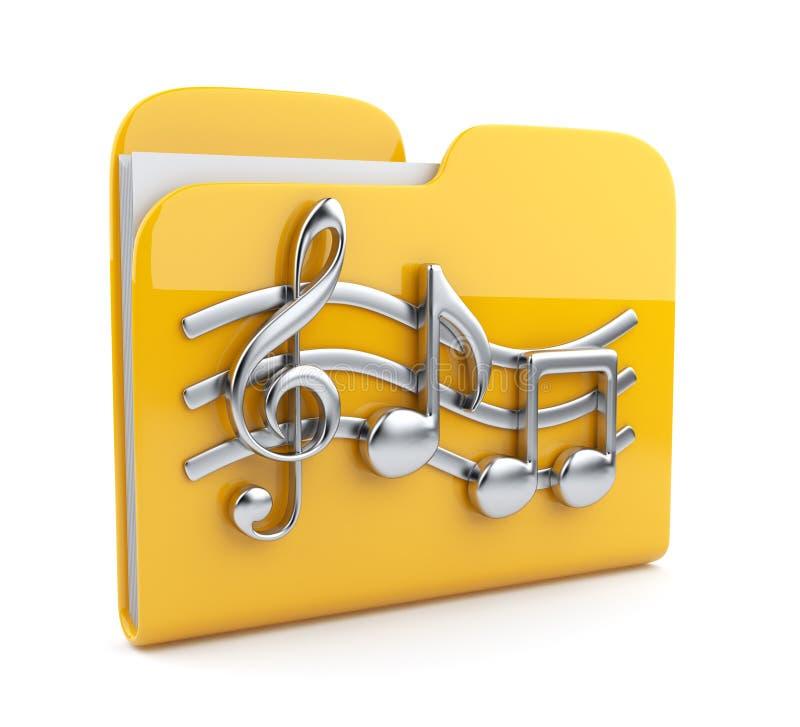 Carpeta de la música con símbolos de la nota. Icono 3D stock de ilustración