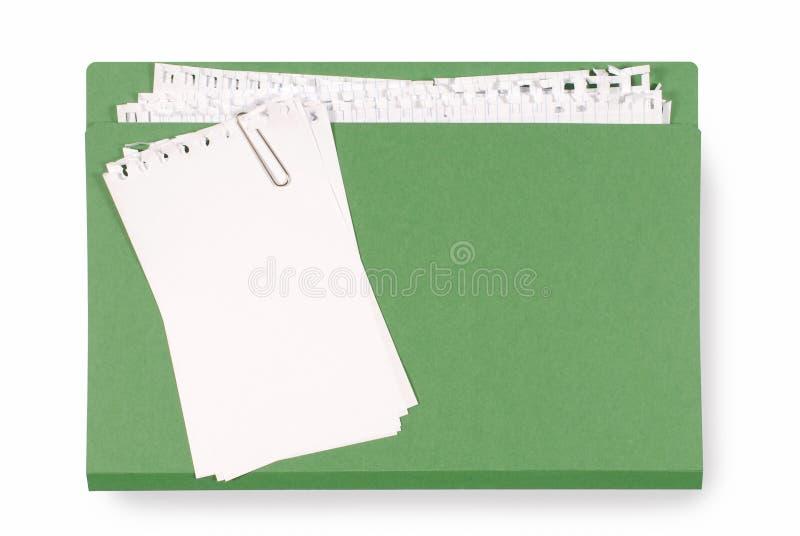 Carpeta de la oficina con el papel de nota desordenado imagen de archivo