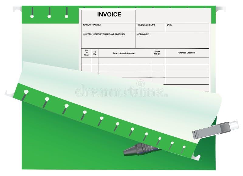Carpeta de la oficina de la factura de la contabilidad ilustración del vector