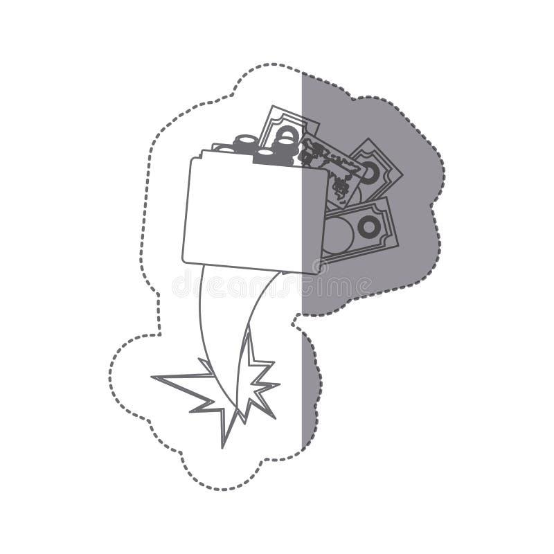 carpeta de la silueta de la etiqueta engomada con el vuelo de la eyección de las cuentas de dinero stock de ilustración
