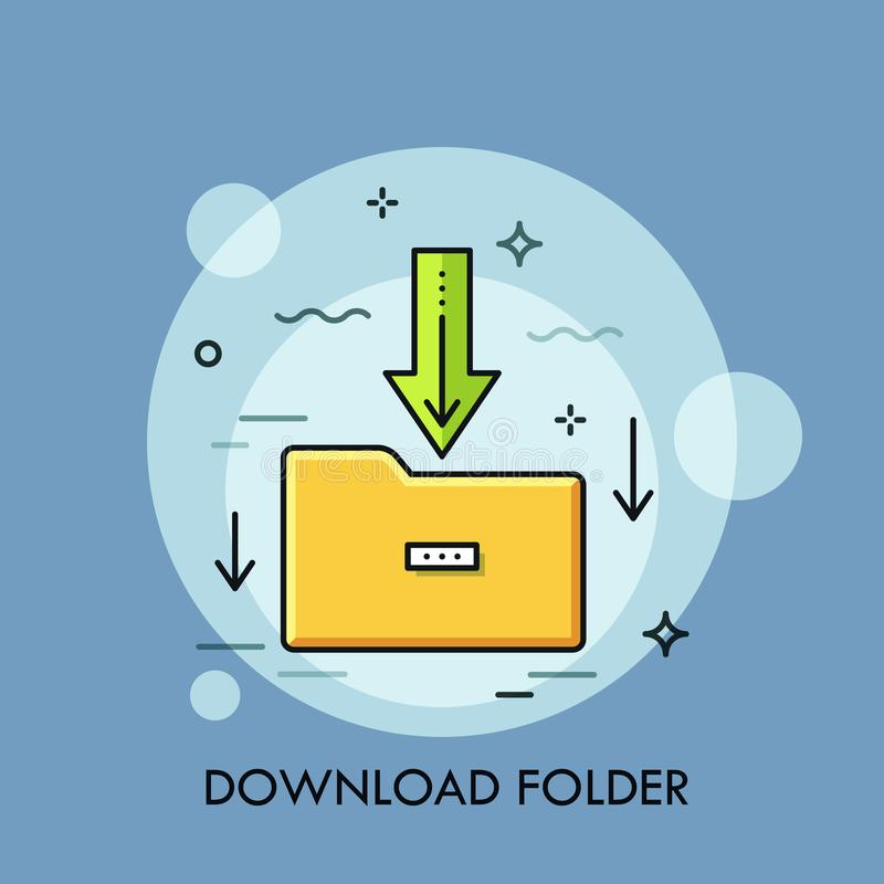 Carpeta de papel amarilla y flecha verde que señalan hacia abajo Concepto de transferencia directa del fichero, tecnología de alm stock de ilustración