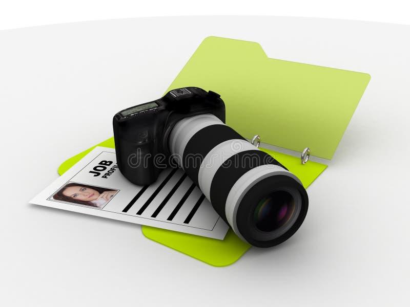 Carpeta del curriculum vitae del fotógrafo ilustración del vector